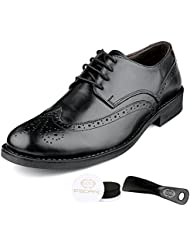 Escaro Men's Formal Genuine Leather Half Brogue Oxford Lace Up Dress Shoes