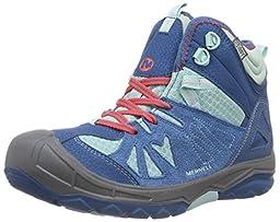 Merrell Capra Mid Waterproof Hiking Boot (Toddler/Little Kid/Big Kid),Turquoise,4 W US Big Kid