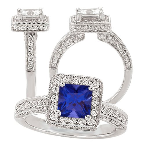 18K Elite Collection Chatham 5.5Mm Princess Cut Blue Sapphire Diamond Halo Engagement Ring