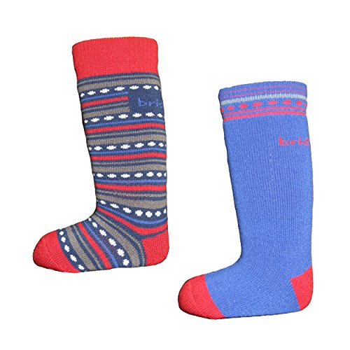 Bridgedale Merino Ski Sock - Kids' - 2-Pack Royal/Red, S