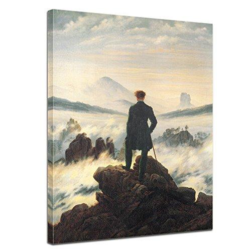 """Bilderdepot24 tela immagine Caspar David Friedrich - Antichi Maestri """"Viandante sul mare di nebbia"""" 40x50cm - completamente incorniciato, direttamente dal produttore"""