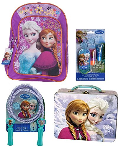 """Back To School Disney Frozen Bundle Includes One Each Of The Following: Disney Frozen 16"""" Backpack Featuring Anna And Elsa, Disney Frozen Embossed Tin Carry All, Disney Frozen Deluxe Jump Rope And Disney Frozen Lip Gloss Set With Mini Tin Carrying Case"""
