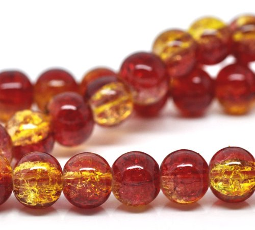 100 X RED & YELLOW GLASS CRACKLE BEADS 8 MM