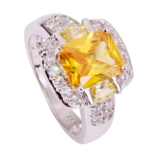 Yazilind Women's Ring with Emerald Cut Big Stone Canary Yellow White Cubic Zirconia CZ US Size 8