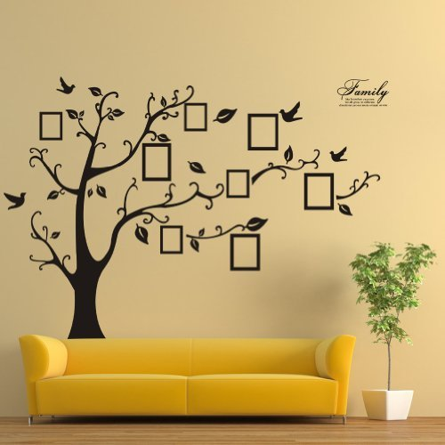Zooarts Large Black Photo Frames 8 Frames Included On The Tree Branches And Soaring Birds (180cm*250cm)Art Wall Stickers And Faimly-Lettering Decals For Living Room, For Kids Bedroom by Zooarts