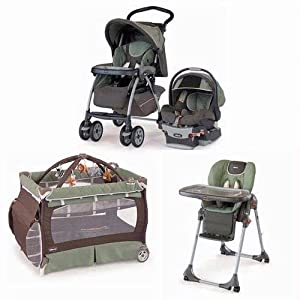 Chicco ADVKIT Matching Stroller System High Chair and Play Yard Combo Adventure