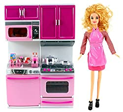 My Happy Kitchen Dishwasher & Stove Battery Operated Toy Doll Kitchen Playset w/ Toy Doll, Lights, S
