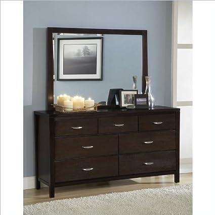 Modus Urban Loft 7 Drawer Dresser and Mirror Set in Dark Wood