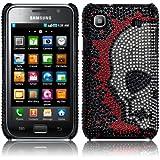 Black Diamonte Skull Design Hard Back Cover Case For Samsung Galaxy S i9000 PART OF THE QUBITS ACCESSORIES RANGE