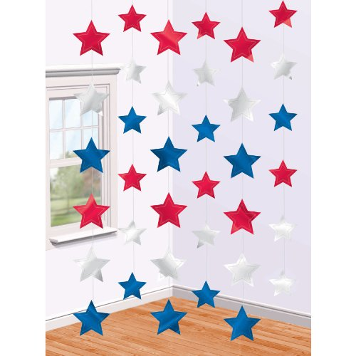 Online Stores, Inc. Patriotic Hanging Decorations Star Strings