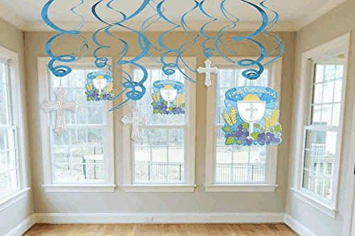 Amscan Communion Swirls Decorations Pack, Blue