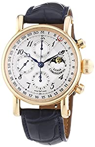 Chronoswiss Sirius Chronograph Moonphase Men's Mechanical Watch with Silver Dial Chronograph Display and Navy Strap 7541RL Blue