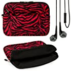 Red Zebra Print Design VG Lushly Faux Fur Sleeve Cover for Asus Transformer Pad TF300 / TF300T / TF700T / Asus eee Pad Transformer Prime TF201 / TF101 / Asus eee Pad Slider SL101 10.1-inch Android Tablets + Black VG Handsfree Stereo Headphones w/ Windscreen Microphone + SumacLife TM Wisdom Courage Wristband