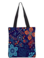 Snoogg Colorful Floral Seamless Pattern In Cartoon Style Seamless Pattern Designer Poly Canvas Tote Bag - B012FUG31M