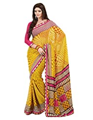 Indian Designer Sari Amusing Geometrical Printed Faux Georgette Saree By Triveni
