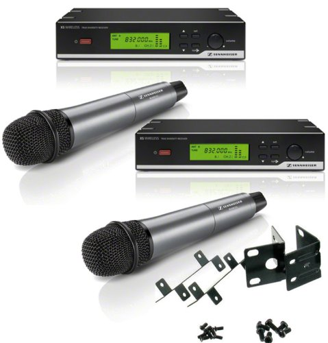 2 Sennhiser Xsw 35 Wireless Systems (Frequency: 542-578 Mhz) With 2 Handheld Dynamic Microphones And Sennheiser Rack Mount Kit