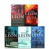 Donna Leon Donna Leon Brunetti Collection 5 Books Set, (A Sea of Troubles, Uniform justice, Friends in High Places, Doctored Evidence, Fatal Remedies)
