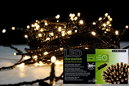 Batteriebetriebene 96 LED Aussen Lichterkette incl Zeitschaltuhr & Blinkfunktion