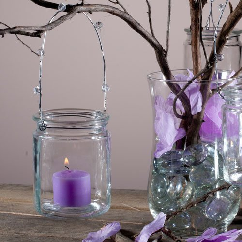 Eastland® Hanging Votive Holder Glass / Charming Metal Handle Adorned with Gems (Set of 12)