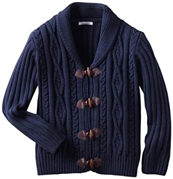 Kitestrings Big Boys' Cable Knit Toggle Front Cardigan, Peacoat Navy, 8-10