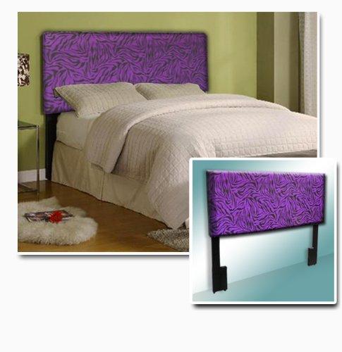 New Full Size Headboard With Zebra Animal Faux Fur Print Purple front-1051258