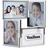 VonHaus 4 Picture Multi Aperture Double Hinged Photo Frame - Includes Free 2 Year Warranty & Ideal for Family Photographs