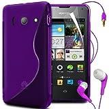 N4U Online S Line Wave Gel Skin Case Cover,Film,Pen & Earphones For Huawei Ascend Y300 - Purple