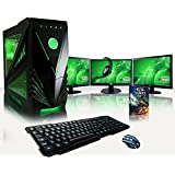 "VIBOX Warrior Package 7 - 4.0GHz Quad Core, GTX 960, Triple 24"" Monitors, Gaming PC, Desktop Computer with WarThunder Game Bundle, Gamer's Headset, LED Keyboard & Mouse Set, High Speed WiFi Adapter, Internal Neon Lighting Kit PLUS a Lifetime Warranty Included* (4.0GHz AMD FX 4300 Fast Quad Core CPU Processor, 2GB Nvidia Geforce GTX 960 Graphics Card GPU, 1TB Hard Drive, 16GB 1600MHz Memory RAM, Vibox Predator Green Case, DVD-RW, No Operating System Included)"