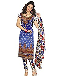 Variation Women's Blue Crepe Unstiched Dress Material (VD11904)