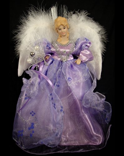 Regal Peacock Pre-lit Fiber Optic Purple Porcelain Angel Christmas Tree Topper