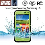 Queens@ Waterproof Water Resistant Case Cover for Samsung Galaxy S5 Sv V I9600 Phone,dustproof Snowproof Shockproof Hard Armor Protective Cover Case for Samsung Galaxy S5 Sv V I9600 ( 0-samsung S5 Waterproof Green)