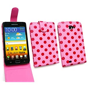 EMARTBUY SAMSUNG GALAXY NOTE POLKA DOTS PINK / HOT PINK FLIP CASE/COVER/POUCH AND LCD SCREEN PROTECTOR
