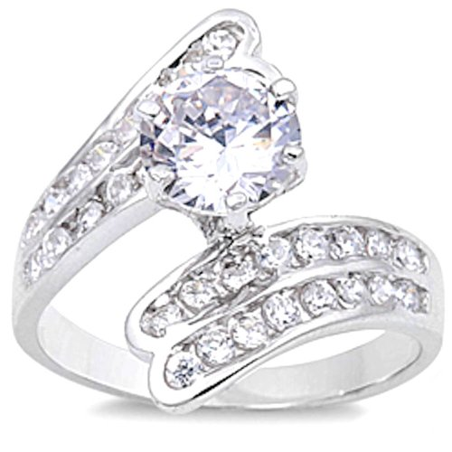 Nice Round White Cz Fashion Engagement .925 Sterling Silver Ring Size 5