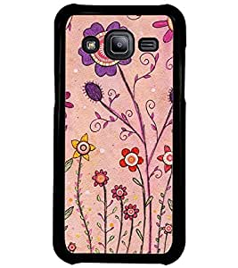Printvisa Pink And Puple Flowers Back Case Cover for Samsung Galaxy J2::Samsung Galaxy J2 J200F