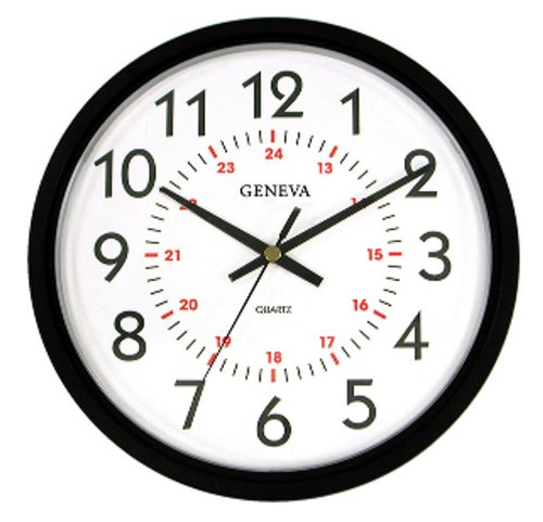 Geneva 14 Inch Wall Clock With 24 Hour Dial Find Sale