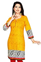 Karan Kurtis Womens Cotton Aline Kurta (Kurtis-0305-Xl_Yellow)