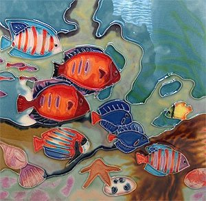 Tropical Fish Decorative Ceramic Wall Art Tile 6x6