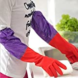 #6: Woogor Rubber Latex Household Kitchen LONG Gloves, FREE Size - For Laundry, Dish-washing, Scrubbing Floors, Gardening etc