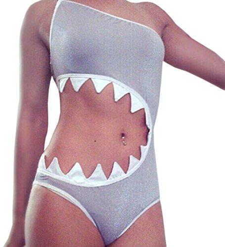 MunZ Women's One Piece Shark's mouth Swimsuit Bikini Beachwear Tankini