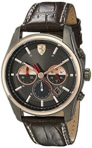 Ferrari Hombre 830198GTB-C analógico pantalla Cuarzo Reloj, color marrón