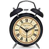 VIVISKY(TM) Multi-style 4-inch Retro Twin Bell Silent Non Ticking Alarm Clock (Nightlight black)