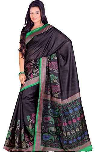 Samskruti Sarees Women  Exclusive Printed Black Leaf Design Pallu Raw Silk Saree (5137)