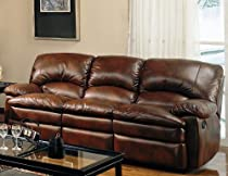 Big Sale Coaster Walter Casual Dual Reclining Sofa, Brown Bonded Leather
