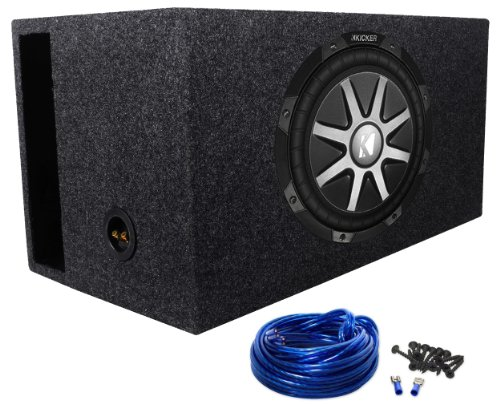 "Package: Kicker 10Cvr12-2 12"" Subwoofer + Rockville Rbs12 Single 12"" 2.6 Cu.Ft. Spl Vented Subwoofer Enclosure + Sub Box Wire Kit With 14 Gauge Speaker Wire + Screws + Spade Terminals"