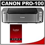 Canon PIXMA PRO-100 Wireless Color Professional Inkjet Photo Printer with LU-101 13x19 Pro Luster Paper (50 Sheets)
