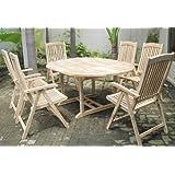 SAM® Teak Holz Gartengruppe Gartenmöbel 7tlg. Solborn-1, bestehend aus 6 x Hochlehner + 1 x Auszugstisch, zusammenklappbare Stühle, leicht zu verstauen