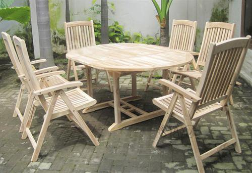 SAM® Teak Holz Gartengruppe Gartenmöbel 7tlg. Solborn-1, bestehend aus 6 x Hochlehner + 1 x Auszugstisch, zusammenklappbare Stühle, leicht zu verstauen günstig bestellen