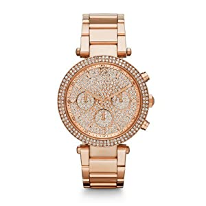 03c53bfa34a4 Buy Michael Kors Parker Rose Gold Stainless Steel Glitz Dial Women s  Chronograph Watch MK5857 at £