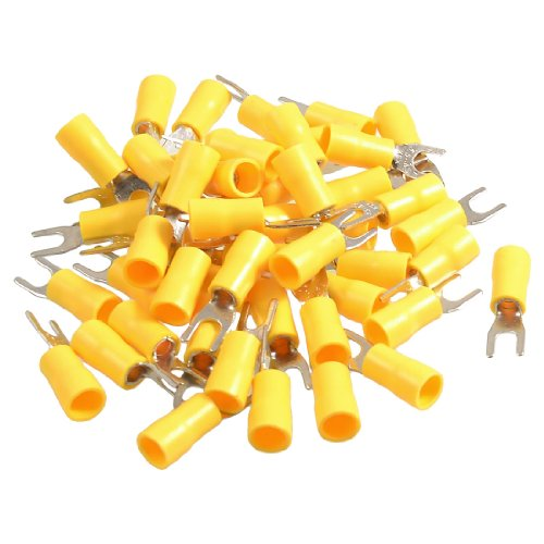 Amico 50 Pcs SV5.5-4S AWG 12-10 Yellow Pre Insulated Fork Terminals Connector