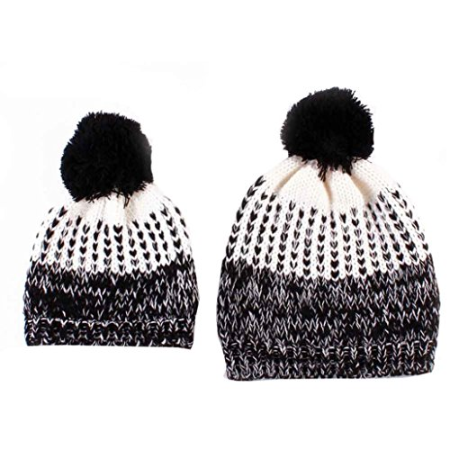 Family Knitted Hat, Malltop 2PC Mom And Baby Knitted Woolen Winter Warm Hairball Hat
